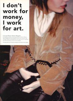 I DON'T WORK FOR MONEY I WORK FOR ART   CONCEPT MAISON MARTIN MARGIELA   PHOTOGRAPHY ARCHIVES MAISON MARTIN MARGIELA, MARINA FAUST AND JONATHAN HALLAM   i-D NO.269   SEPTEMBER 2006
