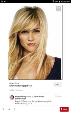 Reese Witherspoon Bangs Someday my hair will look this good ;) by HOLLACHE - Lange Haare Ideen Hairstyles Bangs, Pretty Hairstyles, Hairstyle Photos, Updo Hairstyle, Elegant Hairstyles, Blonde Bangs, Hair Bangs, Side Bangs Long Hair, Bangs Sideswept