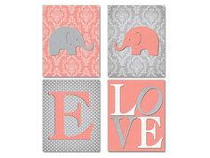 Damask Nursery Decor Coral Gray Nursery by NauticalDecorShop