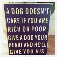 Distressed standing block sign A dog doesn t care if you are rich or poor give a dog your heart and he ll give you his Approx 20x15cm can be wall