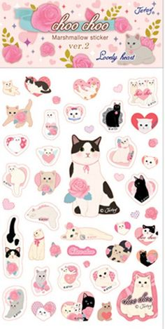 Kawaii Choo-Choo Cat Bubble Stickers come in 4 varieties. Choose your favorite: Lovely Heart, Dessert, Hood, and Ribbon. Bubble stickers are fun, and great for decorating or putting in your planner or