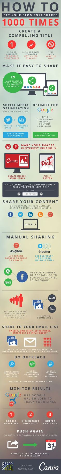 Great Tips to Get Your Blog Posts Shared MORE! Pinnable images are a winner for me. My most-shared posts are always due to thousands of pins! Check out the other tips on this #infographic. #bloggingtips