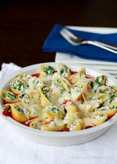prosciutto and spinach stuffed shell pasta <3