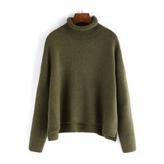 SheIn(sheinside) Green Turtle Neck Crop Loose Sweater (€20) ❤ liked on Polyvore featuring tops, sweaters, green, brown turtleneck, green turtleneck sweater, crop top, long sleeve crop top and turtle neck sweater