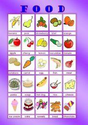 English worksheet: FOOD FLASH CARDS