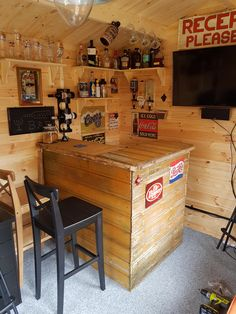 Log Cabin Man Cave built my bar out of an old shed. - Log Cabin Man Cave built my bar out of an old shed. Man Cave Garage, Man Cave Shed, Man Cave Basement, Man Cave Home Bar, Garage Pub, Garage Walls, Man Shed Bar, Garden Bar Shed, Pub Sheds