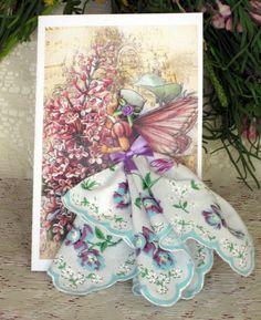 Lavender Fairy Keepsake Hanky Card by onceuponahanky on Etsy