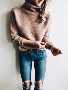 ripped jeans beige sweater