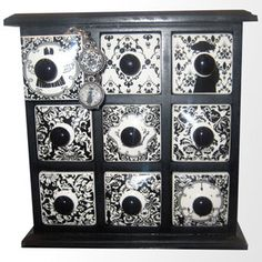 Damask Apothecary Chest with Drawers