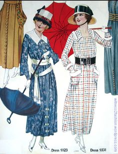 Dress patterns 9323 and 9331, Butterick. Delineator, Aug. 1917.