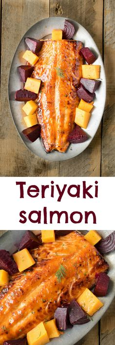 Teriyaki salmon. A beautiful salmon filet is marinated and broiled in a healthier teriyaki sauce.