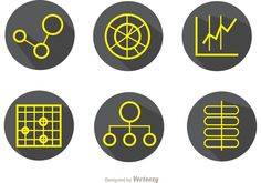 Illustration of Big Data Simple Outline Icons in Gray Background Vector Pack - six big data vector chart icons I made. Vector Icons, Vector Illustrations, Big Data, Outline, Branding, Simple, Business, Design, Free