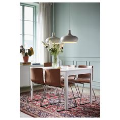 IKEA - VÄXJÖ, Pendant lamp, beige, This lamp gives a pleasant atmosphere for dining, spreading direct light across your dining or bar table. Dining Set, Dining Chairs, Room Chairs, Ikea Dining Table, Rattan Chairs, Desk Chairs, Chaise Ikea, Table Extensible, Under The Table