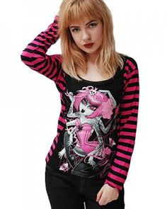 Pink Stripey Arm Long Sleeve Spider Girl Top
