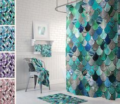 Mermaid Bathroom Decor - Shower Curtain, Towels, Bath Mat, Mermaid Bathroom Accessories - Available in Four Colors Click this to learn more or to buy this product! Mermaid Bathroom Decor, Mermaid Room, Bathroom Colors, Bathroom Shower Curtains, Master Bathroom, Bathroom Ideas, Mermaid Scales, Delta Bathroom, Vanity Bathroom