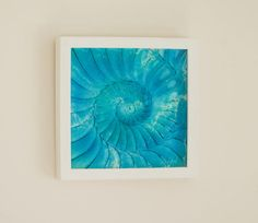 Turquoise/Blue Small Square Ammonite 25x25cm