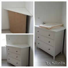 IKEA hack: table à langer en coin Ikea Changing Table, Corner Changing Tables, Ikea Hack Nursery, Ikea Baby Room, Nursery Room, Kids And Parenting, Baby Dresser, Ikea Dresser, Kids Room