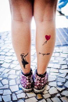 cute heart ballon tattoo