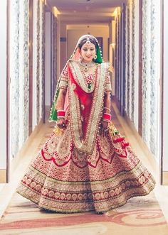 Looking for heavy red bridal lehenga? Browse of latest bridal photos, lehenga & jewelry designs, decor ideas, etc. Indian Bridal Outfits, Indian Bridal Lehenga, Indian Bridal Fashion, Indian Bridal Wear, Asian Bridal, Indian Dresses, Indian Wear, Bridal Dresses, Bride Indian