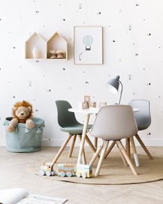 Kid's Play Table | neutral color palette | nursery wallpaper | round table
