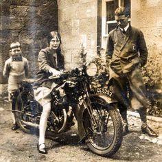 "Vintage Cars Girl on motorbike, ca. - ""Girl on motorbike, ca. Vintage Bikes, Vintage Cars, Vintage Photos, Vintage Ladies, Lady Biker, Biker Girl, Old Bikes, Biker Chick, Vintage Motorcycles"