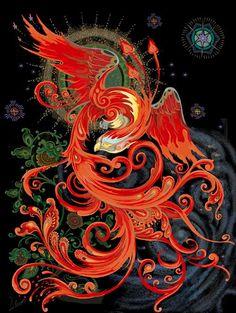 Gorgeous illustration of the Firebird or Phoenix Magical Creatures, Fantasy Creatures, Phenix Tattoo, Phoenix Bird Tattoos, Phoenix Tattoo Design, Phoenix Art, Phoenix Images, Phoenix Wings, Phoenix Feather