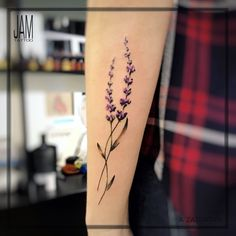 Lavender tattoo, miniature, flower, realistic, watercolor, cute, little tattoos