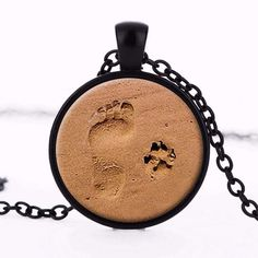 Dog Paw Print Puppy Footprints Necklace Pendant Necklace Jewelry Gift for Dog Lovers