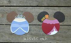 Disney Princess Themed Scrapbooking Embellishments or Window Decorations: Princesses Sophia & Elena Mickey Heads by ScrapWithMeToo on Etsy