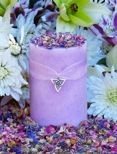 Brigids Bouquet Imbolc Alchemy Pillar Candle 2x3 . Violet, Lily, Heather, Lavender, Hyacinth, WIld Jasmine, Winter Orchid on Etsy, $12.95