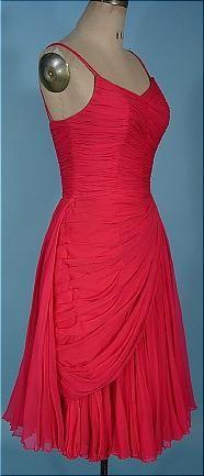 """c. 1950's Lipstick Pink Silk Chiffon """"Jean Desses"""". Sideway"""