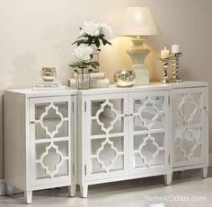 Entryway Table Decor Inspiration - Lydi Out Loud - Gorgeous console table decor! (not completely my style, just admiring the table top staging) - Mirror Buffet, Buffet Lamps, Muebles Living, Mirrored Furniture, Mirrored Sideboard, White Sideboard, Tv Stand Mirrored, Table Furniture, Mirror Tv Stand