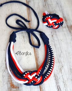 Nautical knot - upcycled multistrand necklace with bracelet fiber jewelry, eco friendly necklace, colorful jersey stripes Yarn Necklace, Knitted Necklace, Braided Necklace, Fabric Necklace, Multi Strand Necklace, Necklaces, Fiber Art Jewelry, Textile Jewelry, Macrame Jewelry