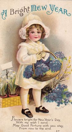 Flowers bright for New Year's Day! #vintage #New_Years #card