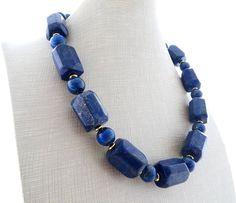Stone Necklace, Beaded Necklace, Necklaces, Gemstone Bracelets, Gemstone Jewelry, Lapis Lazuli Jewelry, Handcrafted Jewelry, Jewelery, Chokers