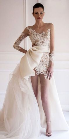 dresses formal gowns on sale at reasonable prices, buy Robe de mariage Front Short Back Long Long Sleeve Bow Wedding Dress 2016 Bridal Gowns See Though Vestido de noiva from mobile site on Aliexpress Now! Mini Wedding Dresses, Luxury Wedding Dress, Bridal Dresses, Wedding Gowns, Lace Wedding, Mermaid Wedding, Lace Bride, Crystal Wedding, Summer Wedding