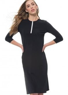 Black Half Zip Dress
