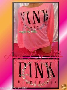 *99 Cent #VSPINK #Ebay #Auction ends #Sunday #September 15th*New Victoria's Secret Pink L Neon Coral Bling Iridescent Baggy Crew sweat Shirt | eBay