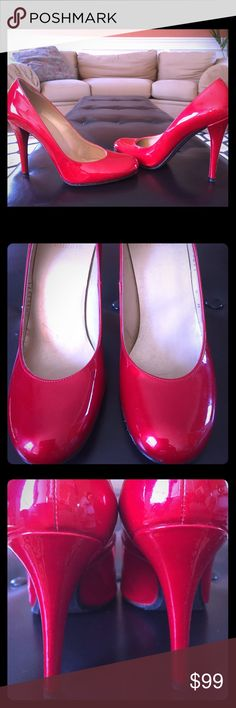 👠Candy Apple Red Stuart Weitzman pumps 👠 These are stunners! Barely worn, at the time I HAD to have them! Definitely head turners! Stuart Weitzman Shoes