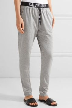 Calvin Klein Beachwear - Stretch-jersey Track Pants - Gray - x small