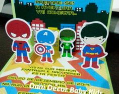 convite super herois pop up