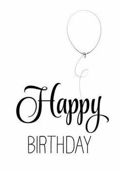 Hippe verjaardagskaart in zwart wit, handlettering Happy Birthday met een getekende ballon. Simpel maar mooi.