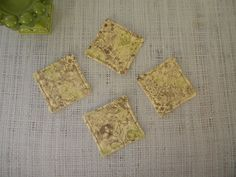 Coasters set of 4 vintage brown and green floral by LiveLaughSew, $5.00
