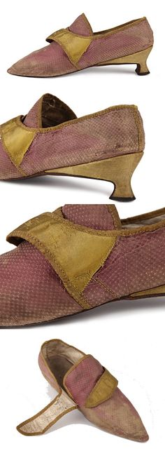 Silk low Italian heel shoes with golden colored straps for the buckles, Great Britain. c 1790s   Shoe icons