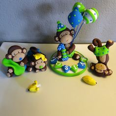 1 Large, 3 Small Custom Monkey Cake Toppers for Birthday or Baby Shower on Etsy, $54.95