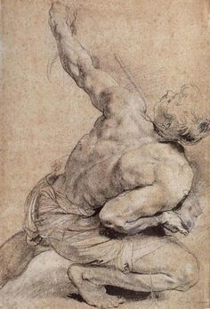 pencil sketch of a Man's Back, Peter Paul Rubens