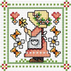 """March"" Sunbonnet Sue and Sal 2018 by Lesley Teare Small Cross Stitch, Cross Stitch For Kids, Cross Stitch Cards, Cross Stitch Baby, Cross Stitch Alphabet, Cross Stitching, Cross Stitch Embroidery, Modern Cross Stitch Patterns, Cross Stitch Designs"