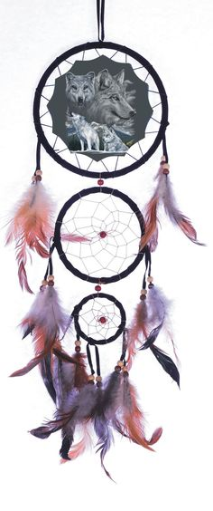 """20"""" long Dream Catcher with beads and feathers. The large dream catcher is 6"""" wide (5"""" canvas picture). The smaller dream catchers hanging from it are 4.25"""" wide and 2.25"""" wide. Dreamcatcher changes a"""