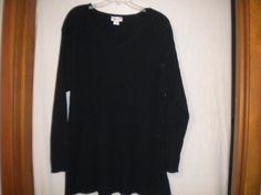 Avenue Plus Size 4X V Neck Long Sleeve Pullover Black Womens Tunic Sweater #Avenue #VNeck
