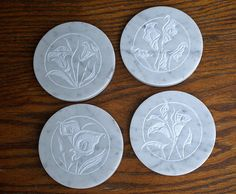 Hand carved natural stone Marble coasters Cala Lilly by SAGaStone